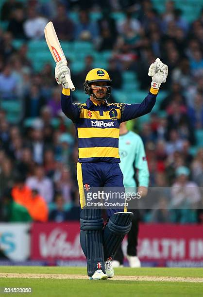 Jacques Rudolph of Glamorgan celebrates the teams win during the Natwest T20 Blast match between Surrey and Glamorgan at The Kia Oval on May 26 2016...