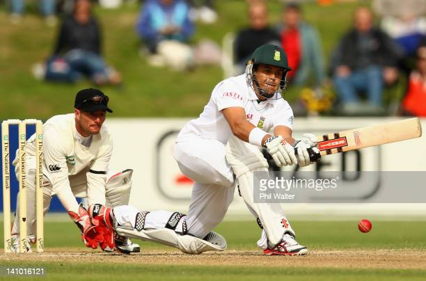 Jacques Rudolph of South Africa bats during day four of the First Test match between New Zealand and South Africa at University Oval on March 10 2012...