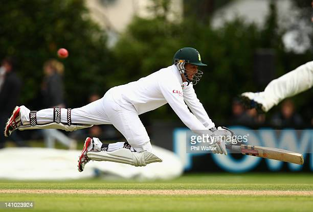 Jacques Rudolph of South Africa dives in to make his crease during day four of the First Test match between New Zealand and South Africa at the...