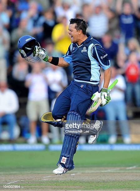 Jacques Rudolph of Yorkshire celebrates scoring a century during the Clydesdale Bank 40 Semi Final match bewteen Yorkshire and Warwickshire at...