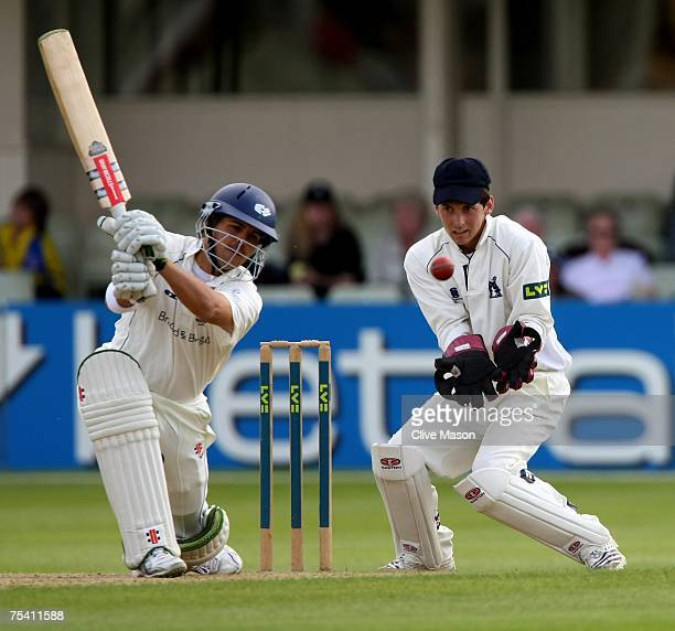 Jacques Rudolph of Yorkshire in action watched by Michael Barnes of Warwickshire during day two of the Liverpool Victoria County Championship...