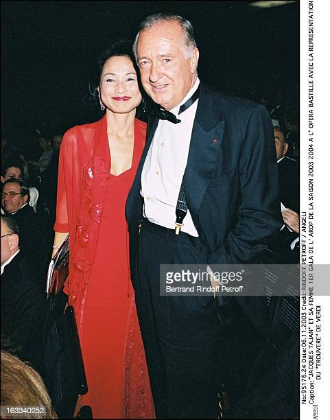 Jacques Tajan and his wife First Arop Gala of the season 20032004 at the Bastille opera with the performance Trouvere by Verdi