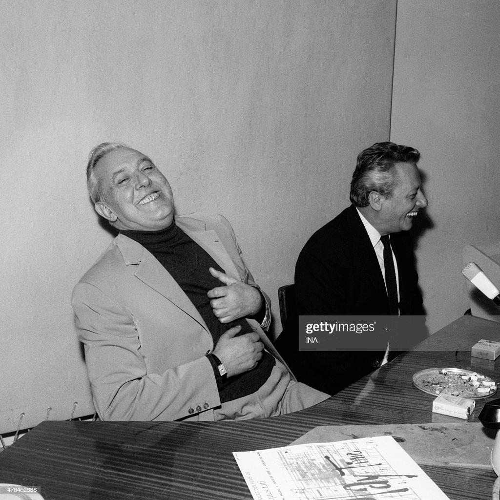 Jacques Tati in full giggle during the radio program ''Madam Inter''