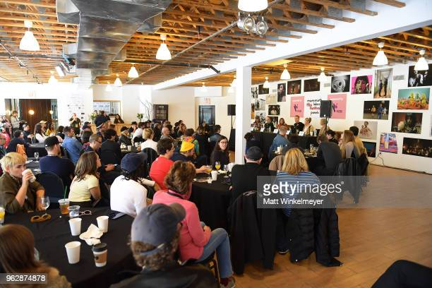 Jacques Thelemaque David Zellner Devin DiGonno Peter Baxter Rachel Winter and Allison Amon speak onstage during the 2018 Mammoth Lakes Film Festival...