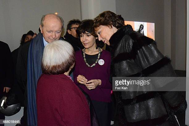 Jacques Toubon Agnes Varda Nathalie Obadia and Lise Toubon attend the 'Tryptiques Atypiques' Agnes Varda Photo Exhibition Preview At Galerie Nathalie...