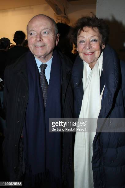 Jacques Toubon and his wife Lise Toubon attend the Virgil Abloh Efflorescence Exhibition Preview at Kreo Gallery on January 14 2020 in Paris France