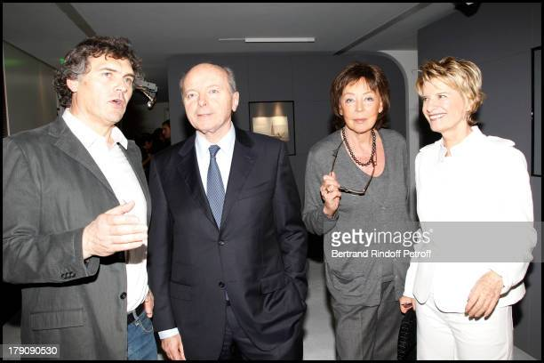 Jacques Toubon and wife Lise Marie Ange at The Private View Of The Art Exhibition Ailleurs At The Espace Culturel Louis Vuitton Avenue Des Chapmps...