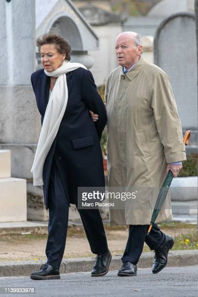 Jacques Toubon and wife Lise Toubon arrive to attend Agnes Varda's funerals at Montparnasse cemetery on April 02 2019 in Paris France