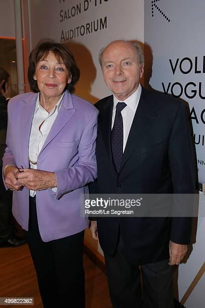 Jacques Toubon and wife Lise 'Volez Voguez Voyagez Louis Vuitton' Exhibition Opening at Le Grand Palais on December 3 2015 in Paris France