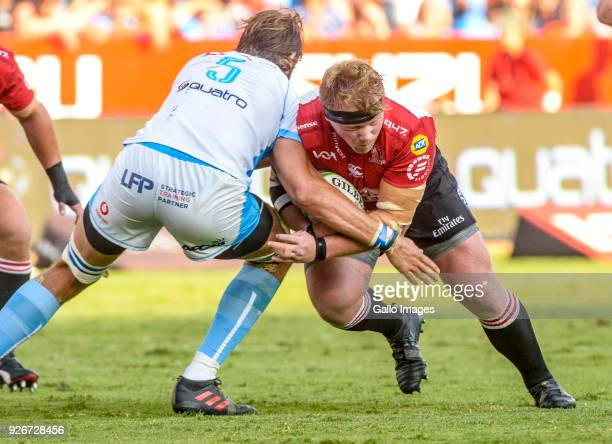 Jacques Van Rooyen of the Lions and Lood de Jager of the Bulls during the Super Rugby match between Vodacom Bulls and Emirates Lions at Loftus...