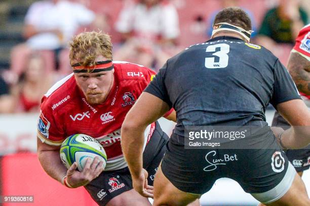 Jacques Van Rooyen of the Lions and Thomas du Toit of the Sharks during the Super Rugby match between Emirates Lions and Cell C Sharks at Emirates...