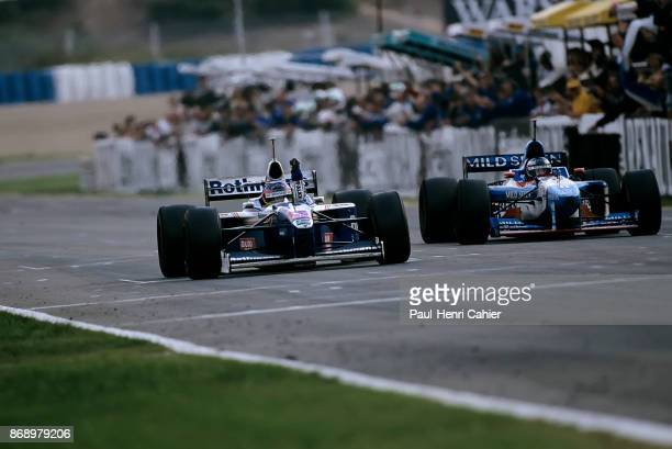 Jacques Villeneuve Gerhard Berger WilliamsRenault FW19 Grand Prix of Europe Circuito de Jerez 26 October 1997 Jacques Villeneuve raises his arm as he...