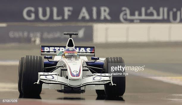 Jacques Villeneuve of Canada and BMW Sauber in action during the third practice session prior to qualifying for the Bahrain Formula One Grand Prix at...