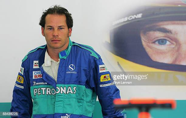 Jacques Villeneuve of Canada and Sauber awaits the start of practice for the Formula One Turkish Grand Prix at Istanbul Park on August 19, 2005 in...