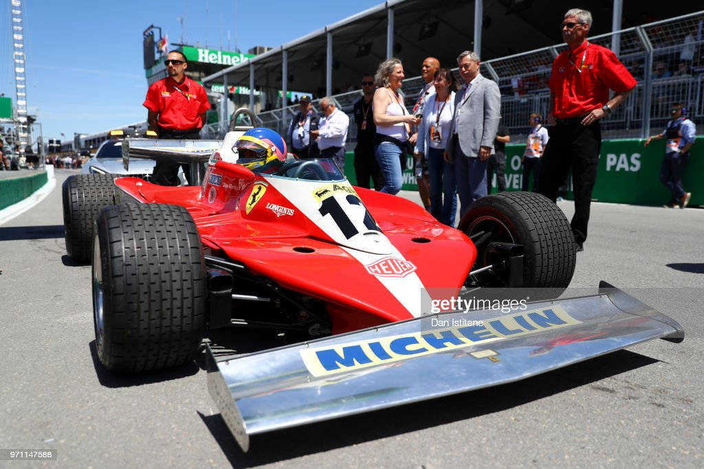 Jacques Villeneuve of Canada prepares to drive the 1978 Ferrari 312 of his late father Gilles Villeneuve on track before the Canadian Formula One Grand Prix at Circuit Gilles Villeneuve on June 10, 2018 in Montreal, Canada.