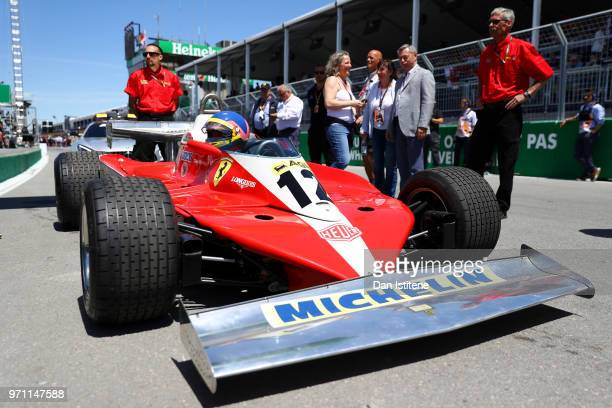 Jacques Villeneuve of Canada prepares to drive the 1978 Ferrari 312 of his late father Gilles Villeneuve on track before the Canadian Formula One...