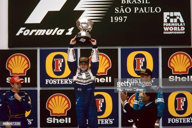 Jacques Villeneuve Olivier Panis Gerhard Berger Grand Prix of Brazil Autodromo Jose Carlos Pace Interlagos Sao Paolo 30 March 1997