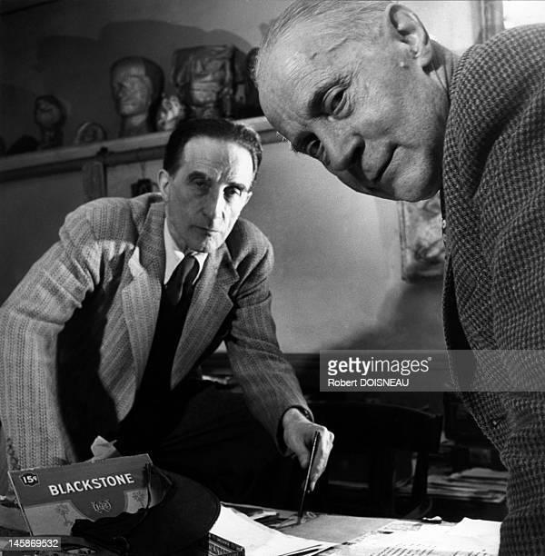 Jacques Villon and Marcel Duchamp on November, 1950 in Paris, France.