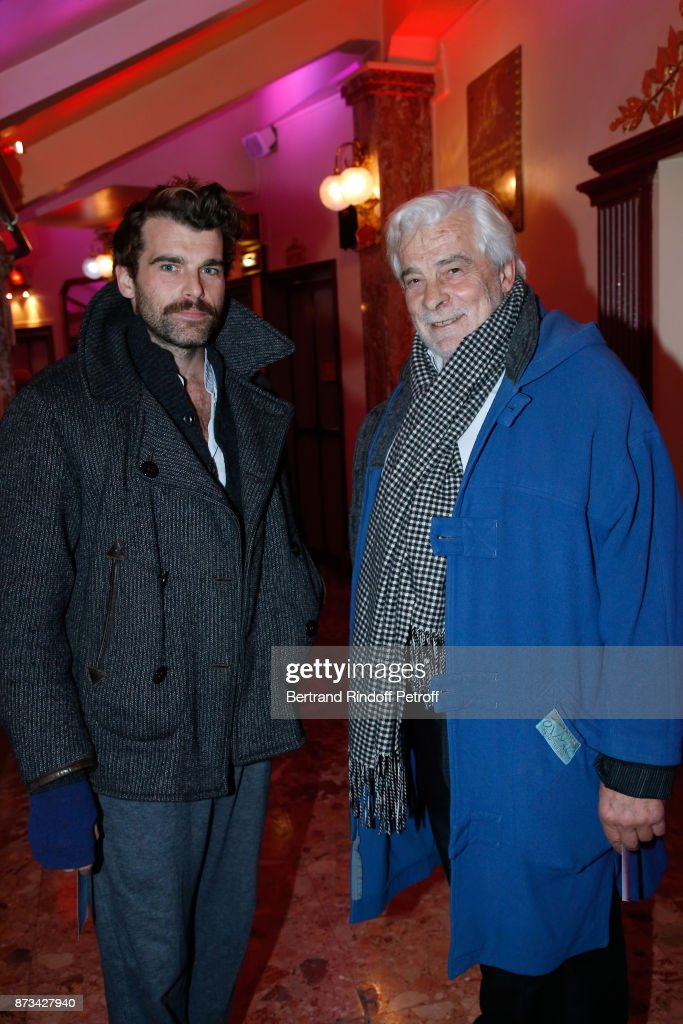 Jacques Weber and his son Stanley Weber attend 'Depardieu Chante Barbara' at 'Le Cirque D'Hiver' on November 10, 2017 in Paris, France.