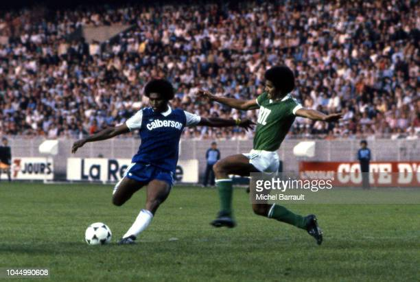 Jacques Zimako of Bastia and Gerard Janvion of Saint Etienne during the French national cup final match between Bastia and St Etienne at Parc des...