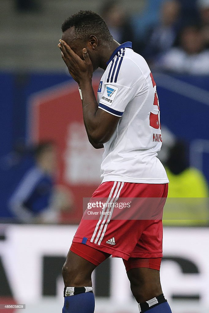 Jacques Zoua of Hamburg appears frustrated after the Bundesliga match between Hamburger SV and VfL Wolfsburg at Imtech Arena on April 19, 2014 in Hamburg, Germany.