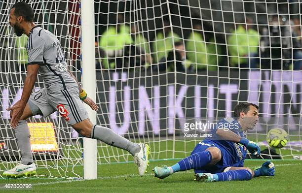 JacquesAlaixys Romao of Olympique de Marseille score a goal during the French Ligue 1 between RC Lens and Olympique de Marseille at Stade de France...