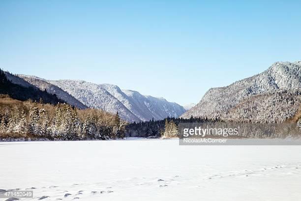 jacques-cartier national park winter landscape - quebec stock pictures, royalty-free photos & images