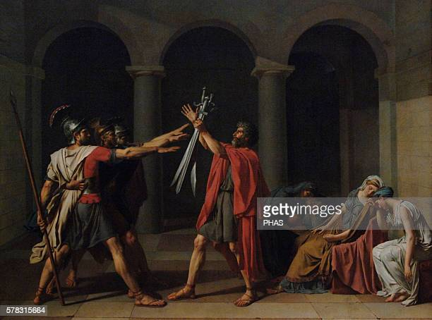 JacquesLouis David French painter Neoclassical Oath of the Horatii 1784 Oil on Canvas Museum of Louvre Paris France