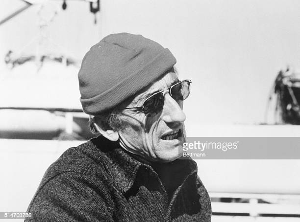 JacquesYves Cousteau world renowned marine biologist and explorer sits in the sunshine Cousteau and his research crew plan four expeditions aboard...