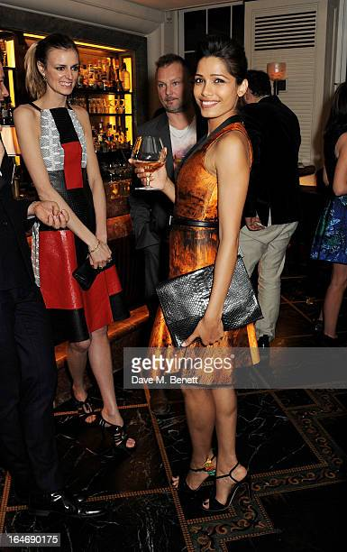 Jacquetta Wheeler Juergen Teller and Freida Pinto attend a dinner hosted by online luxury fashion retailer NETAPORTER to celebrate designers Jack...