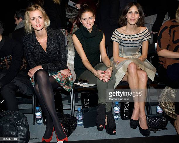 Jacquetta Wheeler Olivia Palermo and Alexa Chung attend the Erdem London Fashion Week Autumn/Winter 2011 show at the University of Westminster on...