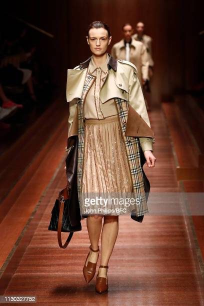 Jacquetta Wheeler walks the runway at the Burberry show during London Fashion Week February 2019 on February 17, 2019 in London, England.