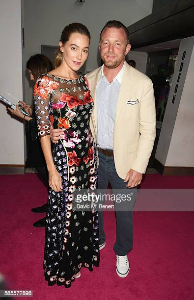 Jacqui Ainsley and Guy Ritchie attend the European Premiere of 'Suicide Squad' at Odeon Leicester Square on August 3 2016 in London England