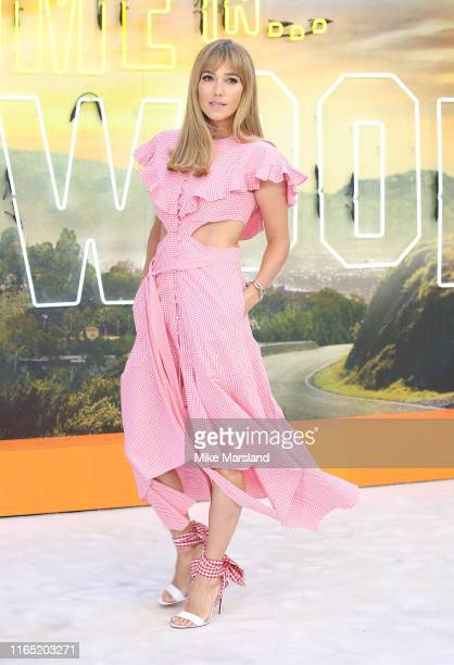 """Jacqui Ainsley attends the """"Once Upon A Time In Hollywood"""" UK Premiere at Odeon Luxe Leicester Square on July 30, 2019 in London, England."""