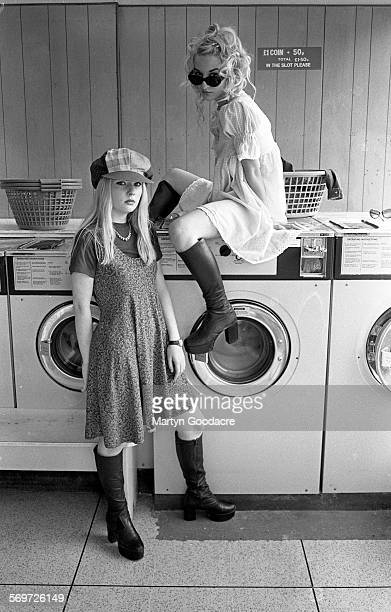 Jacqui Blake and Carrie Askew of Shampoo in a laundrette London United Kingdom 1993