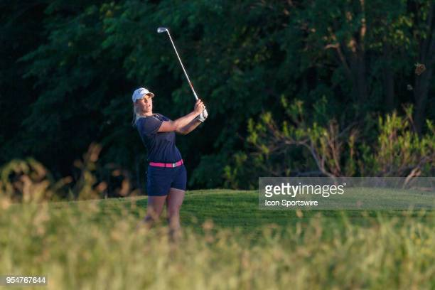 Jacqui Concolino hits her approach shot to during the First Round of the Volunteers of America Texas Classic on May 4 2018 at the Old American Golf...