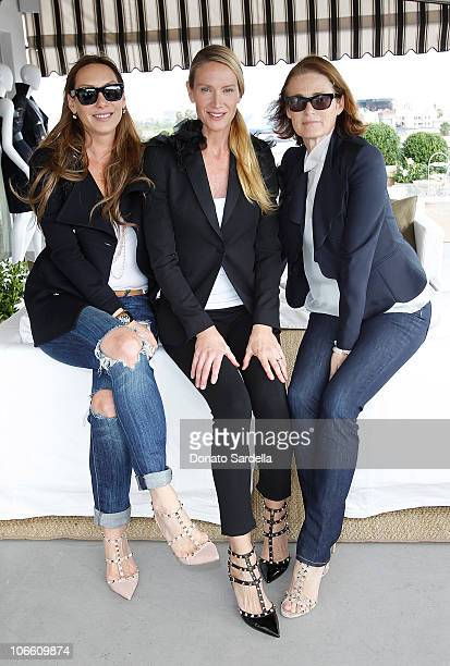 Jacqui Getty actress Kelly Lynch and Lisa Love attend the Vogue and Valentino Celebrate Spring/Summer 2011 Collection Hosted by Jacqui Getty and Gia...
