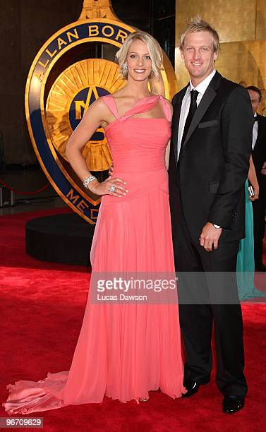 Jacqui Morris and partner Cameron White arrive at the 2010 Allan Border Medal at Crown Casino on February 15 2010 in Melbourne Australia