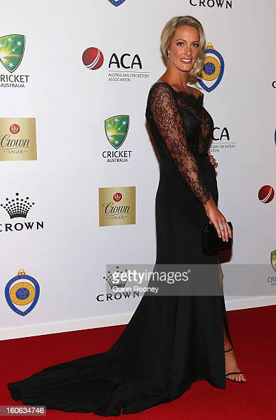 Jacqui Morris partner of Cameron White of Australia arrives at the 2013 Allan Border Medal awards ceremony at Crown Palladium on February 4 2013 in...