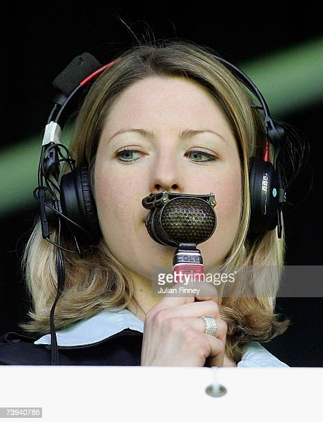 Jacqui Oatley commentates as she becomes the first women to commentate on BBC TVs Match of The Day during the Barclays Premiership match between...