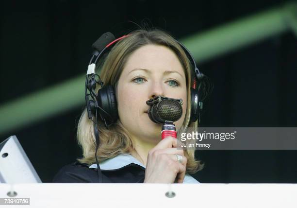 Jacqui Oatley commentates she becomes the first women to commentate on BBC TVs Match of The Day during the Barclays Premiership match between Fulham...