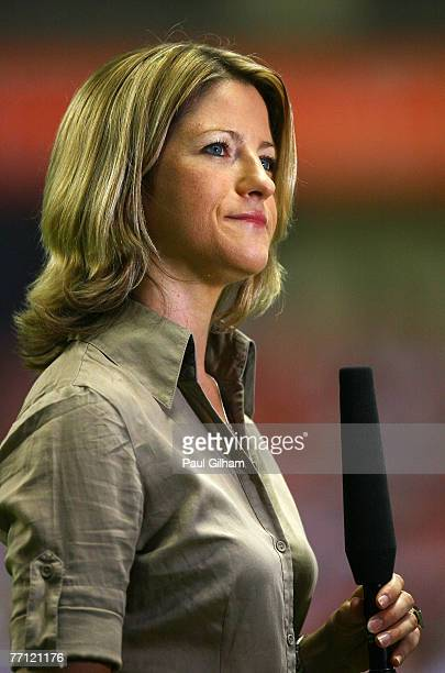Jacqui Oatley of the BBC looks on prior to the start of the Group A Womens World Cup 2007 match between England and Germany at Shanghai Hongkou...