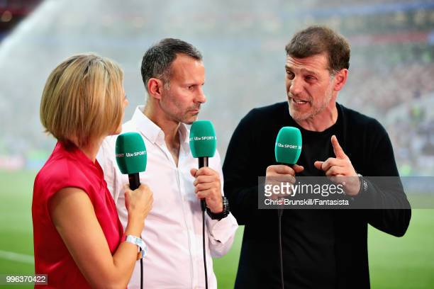 Jacqui Oatley Ryan Giggs and Slaven Bilic talk for ITV Sport before the 2018 FIFA World Cup Russia Semi Final match between England and Croatia at...