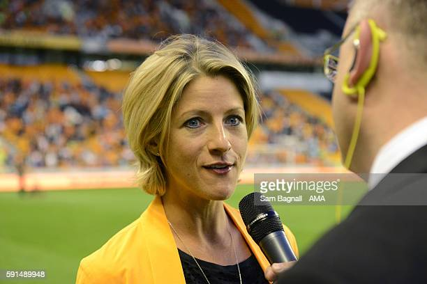 Jacqui Oatley Sports presenter during the Sky Bet Championship match between Wolverhampton Wanderers v Ipswich Town at Molineux on August 16 2016 in...