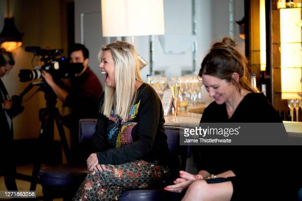 """Jacquie Lawrence laughs on the Cast and Crew panel during the """"Henpire"""" podcast launch event at Langham Hotel on September 10, 2020 in London,..."""