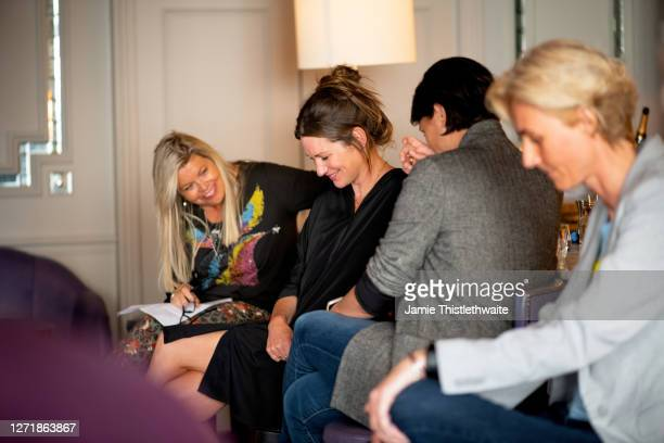"""Jacquie Lawrence, Patricia Potter, Heather Peace and Samantha Grierson on the Cast and Crew panel during the """"Henpire"""" podcast launch event at..."""