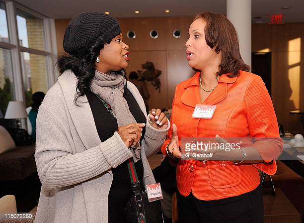 Jacquie Lee and CEO Dress For Success Joi Gordon attend the Women in the City event hosted by Niche Media at Manhattan House on April 27 2010 in New...