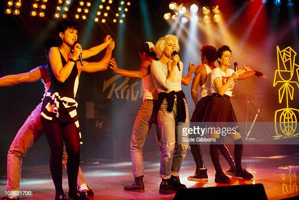 Jacquie O'Sullivan, Keren Woodward and Sara Dallin of Bananarama perform on stage at the Montreux Rock Festival held in Montreux, Switzerland in May...
