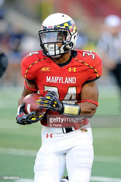 Jacquille Veii of the Maryland Terrapins rushes the ball against the Old Dominion Monarchs at Byrd Stadium on September 7 2013 in College Park...