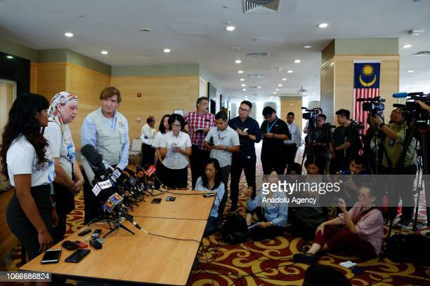 Jacquita Gonzales the wife of Malaysia Airlines flight MH370 steward Patrick Gomes talk to media members after handing over pieces of debris found in...